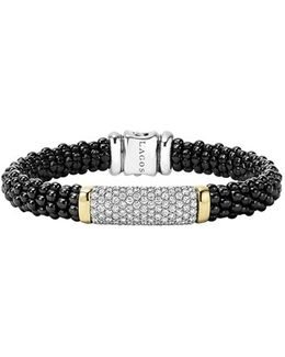 'black Caviar' Diamond Rope Bracelet