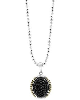 'black Caviar' Oval Pendant Necklace