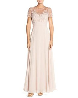 Embellished Mesh & Chiffon Gown