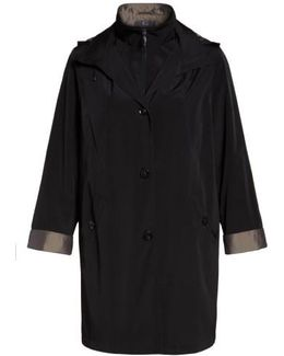 Two-tone Long Silk Look Raincoat