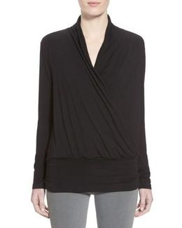 'angela' Long Sleeve Wrap Front Top