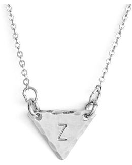 Sterling Silver Initial Mini Triangle Necklace