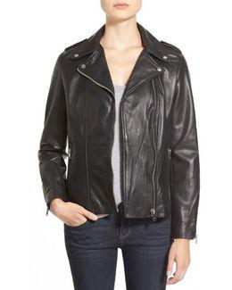 Terri Lambskin Leather Moto Jacket