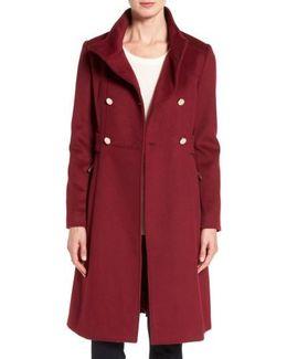 Wool Blend Long Military Coat