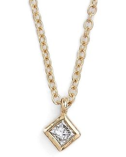 Princess Diamond Pendant Necklace