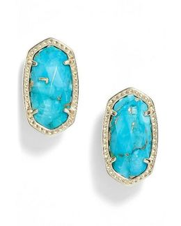 Ellie Oval Stone Stud Earrings