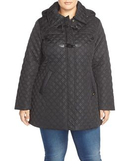 Toggle Closure Quilted A-line Coat
