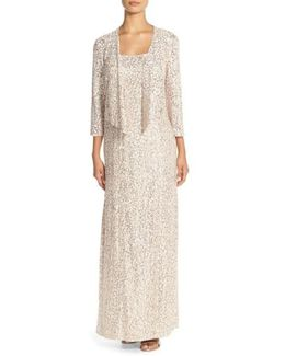 Sequin Embroidered Mesh A-line Gown & Jacket