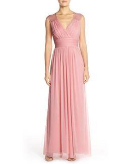 Shirred Chiffon Cap Sleeve Gown