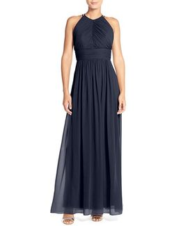 Ruched Chiffon Open Back Halter Gown