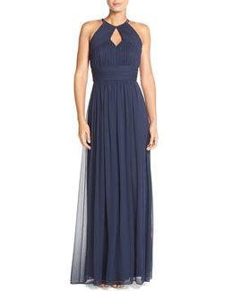 Ruched Chiffon Keyhole Halter Gown