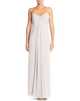Sweetheart Neck Strapless Chiffon Gown