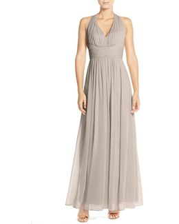 Ruched Chiffon V-neck Halter Gown
