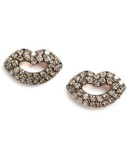 'mini' Encrusted Lips Stud Earrings