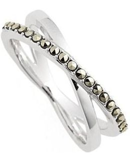 Crisscross Marcasite Ring