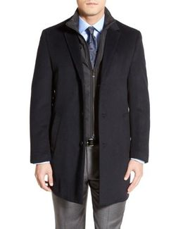'kingman' Classic Fit Wool Blend Coat With Removable Zipper Bib