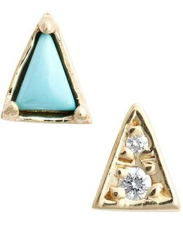 Mismatch Triangle Turquoise Stud Earrings