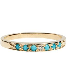 'moon & Stars' Single Band Turquoise & Diamond Ring