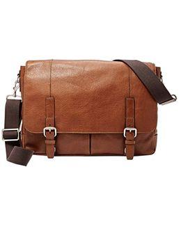 'graham' Leather Messenger Bag - Metallic