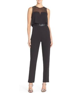 Popover Mixed Media Jumpsuit