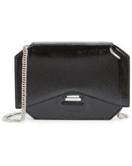 Bow-Cut Patent Leather Shoulder Bag