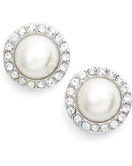 Pave Imitation Pearl Button Earrings