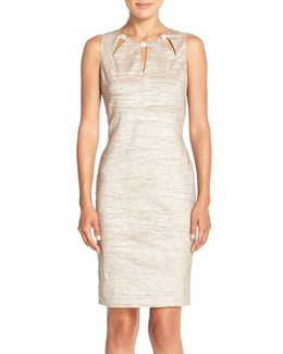 Embellished Cutout Taffeta Sheath Dress