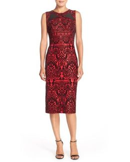 Flecked Scuba Sheath Dress