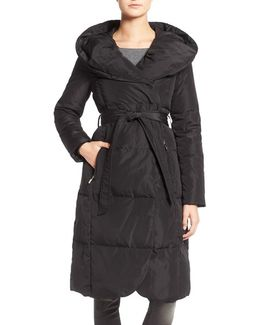 Belted Down Coat With Hood