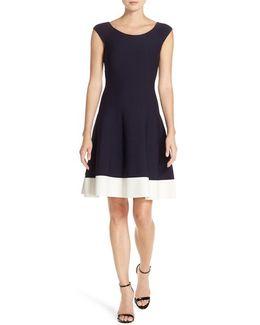 Colorblock Fit & Flare Sweater Dress