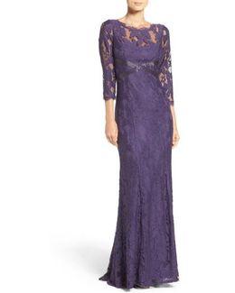Illusion Yoke Lace Gown
