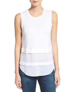 Mixed Media Sleeveless Top