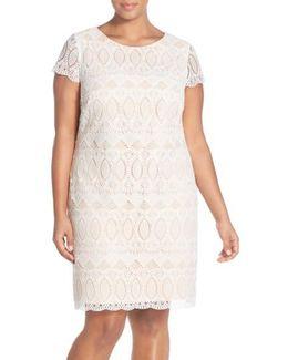 Cap Sleeve Lace Shift Dress