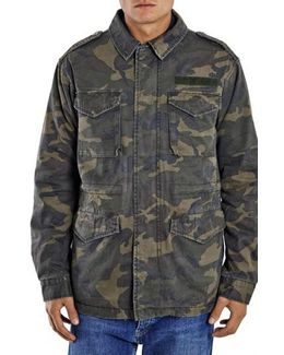 Camo Print M-65 Field Jacket With Plush Lining