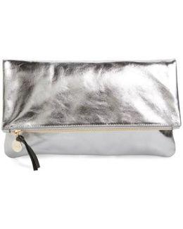 'maison' Metallic Leather Foldover Clutch - Metallic