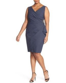 Embellished Surplice Sheath Dress (plus Size)