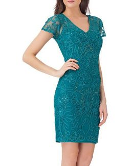 Embellished Soutache Sheath Dress