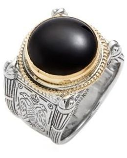 'minos' Etched Black Onyx Ring