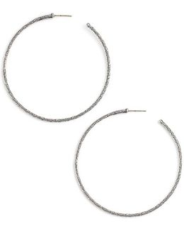 'silver Classics' Large Etched Hoop Earrings