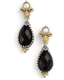 'nykta' Pearl & Black Onyx Drop Earrings