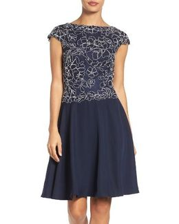 Embroidered Lace Fit & Flare Dress