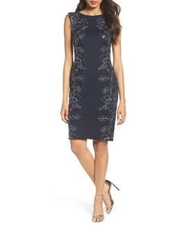 Embroidered Neoprene Sheath Dress