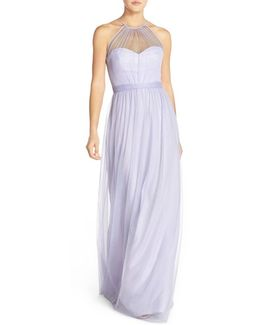 'aliki' Illusion Yoke Tulle Halter Gown