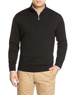 Windproof Merino Wool Quarter Zip Sweater