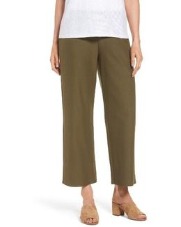 Washable Stretch Crepe Crop Pants