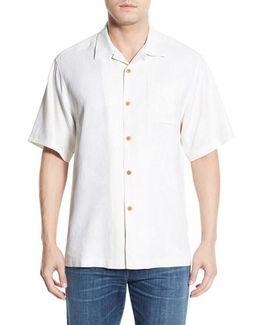 'rio Fronds' Regular Fit Silk Camp Shirt