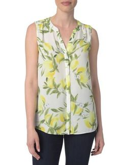 Print Pleat Back Sleeveless Split Neck Blouse