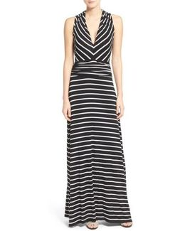 Stripe V-neck A-line Maxi Dress