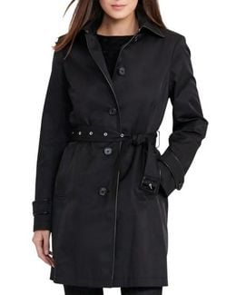 Faux Leather Trim Trench Coat