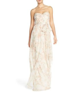 Nyla Convertible Strapless Floral Gown